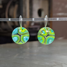 Load image into Gallery viewer, Lime Turquoise Murrini Earrings - Medium