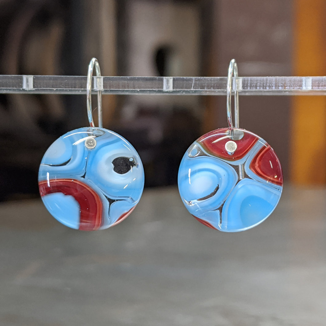 Light Blue Red White Murrini Earrings - Mediium