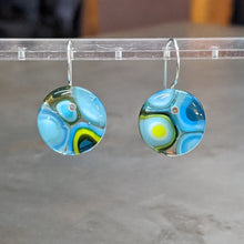 Load image into Gallery viewer, Turquoise Lime Chocolate Murrini Earrings - Medium