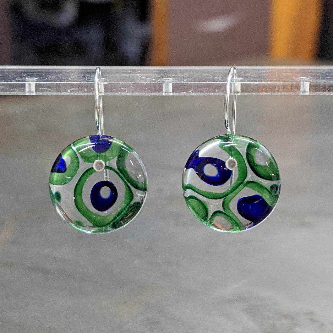 Emerald Cobalt Murrini Earrings - Medium