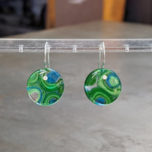 Load image into Gallery viewer, Green Sea Blue Murrini Earrings - Medium