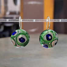 Load image into Gallery viewer, Emerald Cobalt Murrini Earrings - Medium