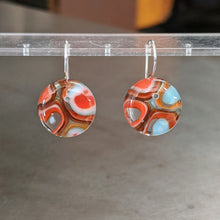 Load image into Gallery viewer, Orange White Turquoise Murrini Earrings - Medium