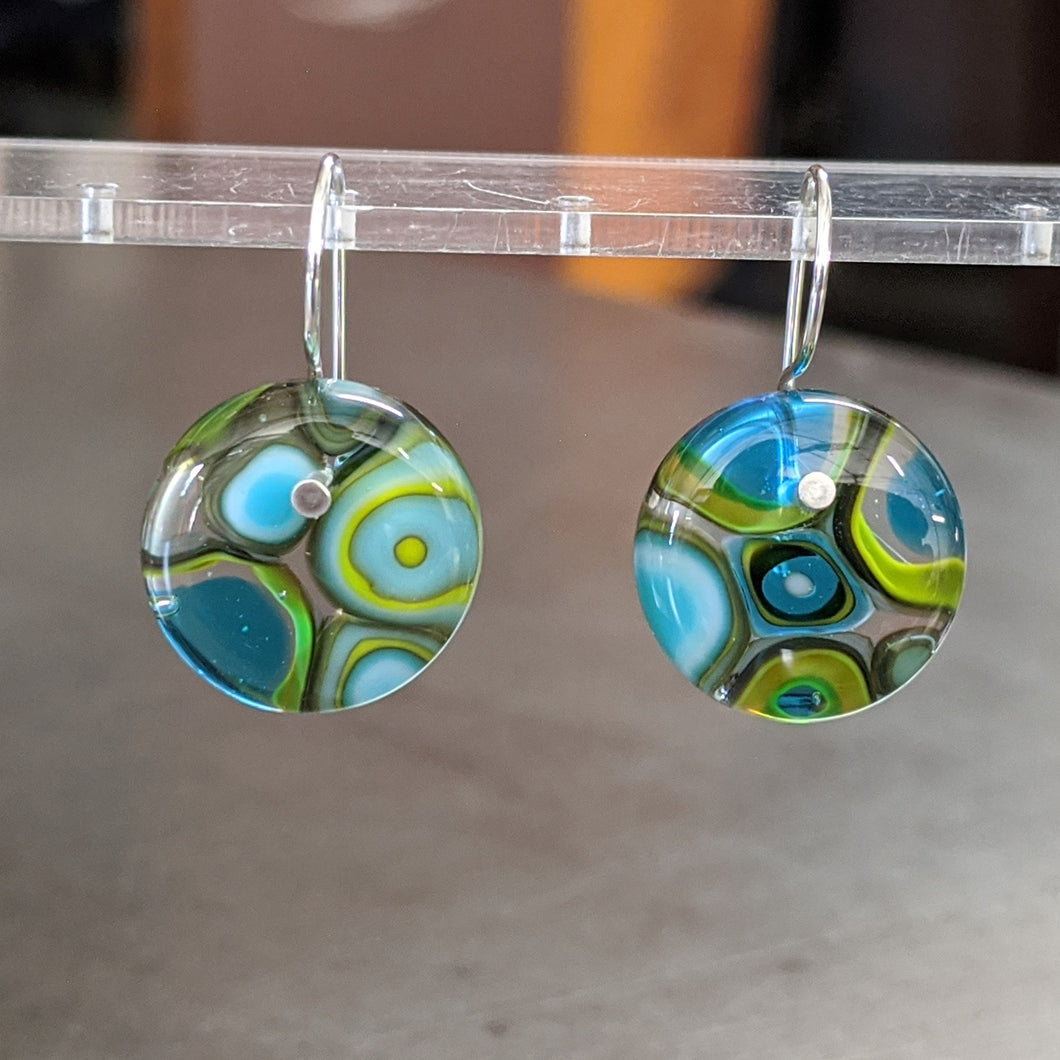 Turquoise Lime Sea Blue Murrini Earrings - Medium