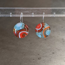Load image into Gallery viewer, Orange Turquoise White Murrini Earrings - Medium