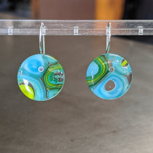 Load image into Gallery viewer, Turquoise Lime Murrini Earrings - Medium