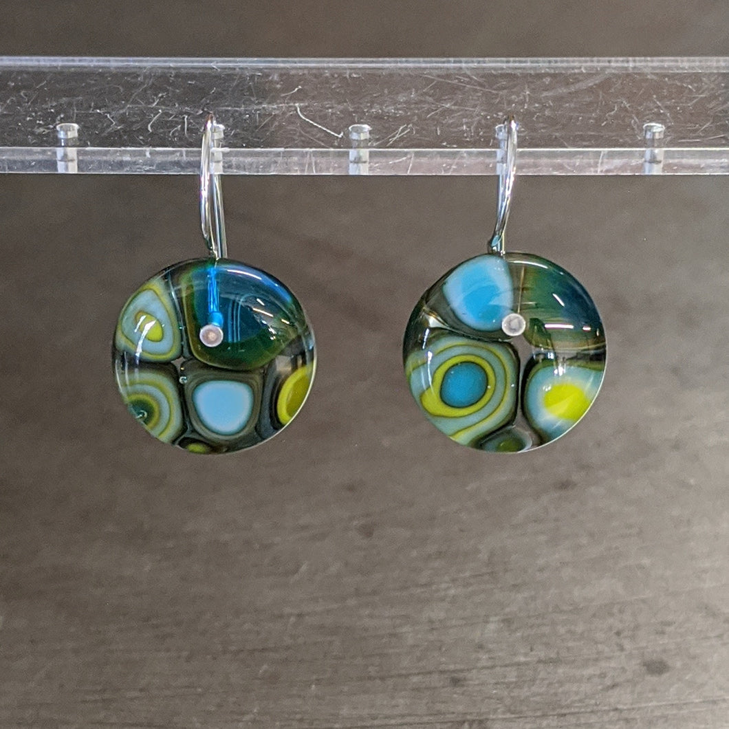 Turquoise Chocolate Lime Murrini Earrings - Medium