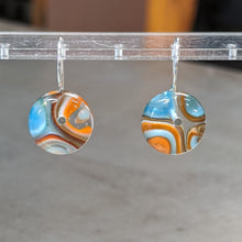 Load image into Gallery viewer, Orange Turquoise White Murrini Earrings - Small