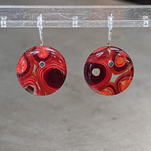 Load image into Gallery viewer, Red Orange Murrini Earrings - Medium