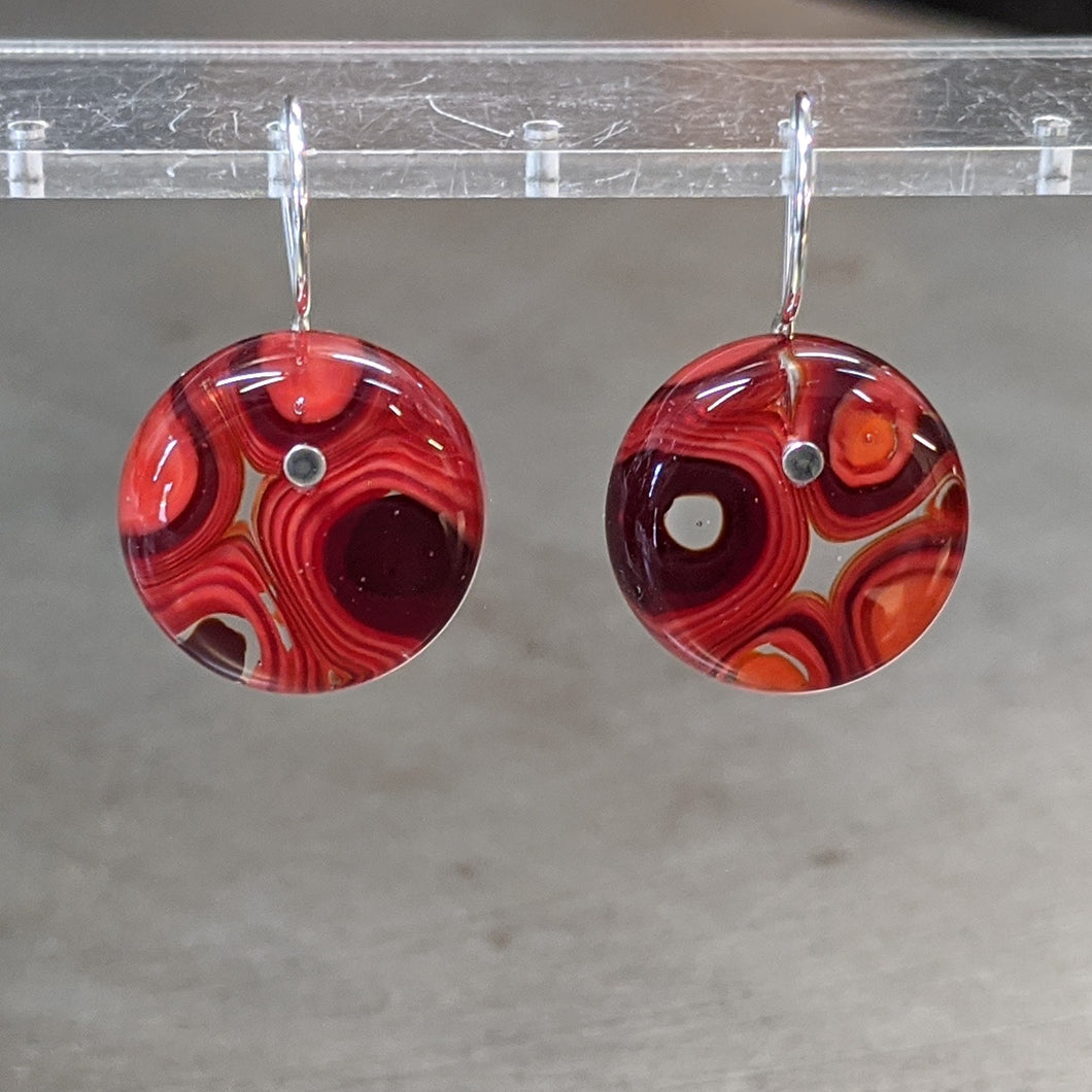 Red Orange Murrini Earrings - Medium