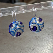 Load image into Gallery viewer, Aqua Cobalt Murrini Earrings - Medium
