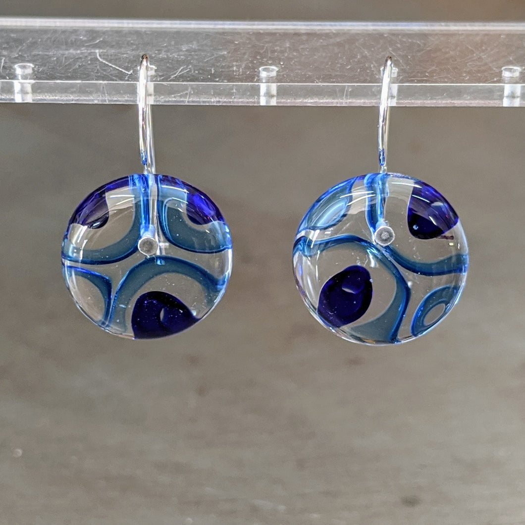Aqua Cobalt Murrini Earrings - Medium