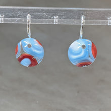Load image into Gallery viewer, Lt Blue Red White Murrini Earrings - Small
