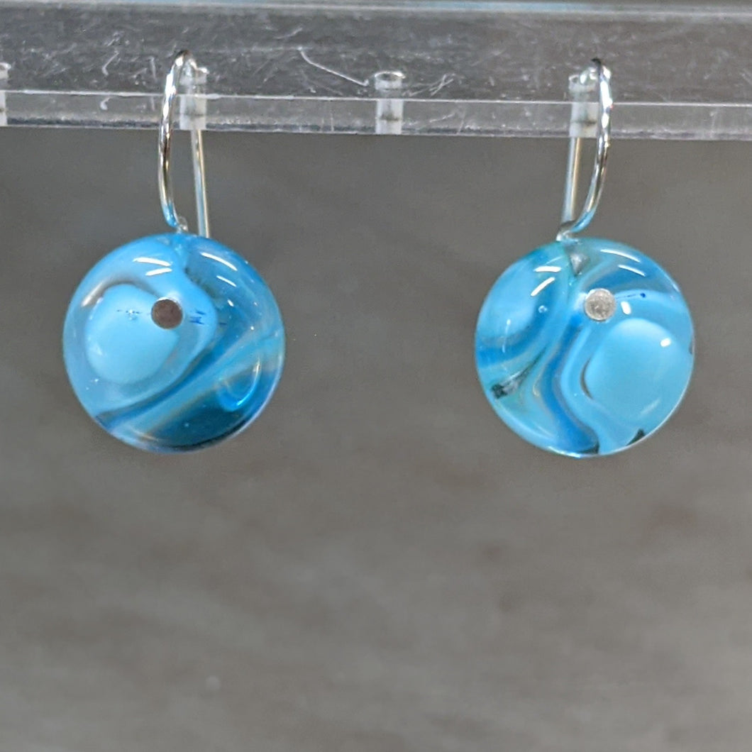 Turquoise Sea Blue Murrini Earrings - Small