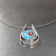 Load image into Gallery viewer, Turquoise Orange Sea Blue Cradle Necklace