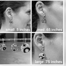 Load image into Gallery viewer, White Black Aqua Murrini Earrings - Small
