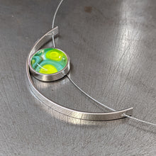 Load image into Gallery viewer, Turquoise Lemon Grass Eclipse Necklace