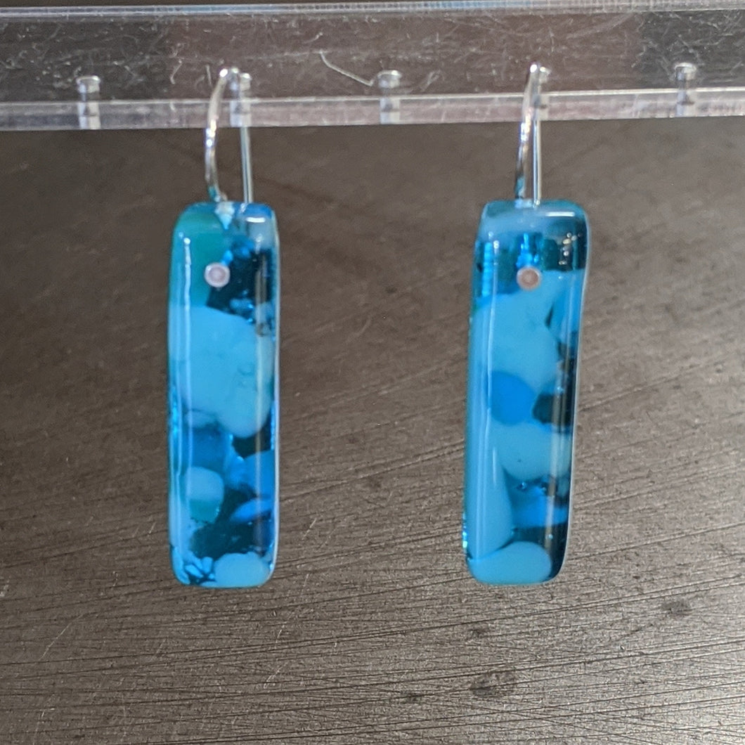 Sea Blue Turquoise Glass Earrings