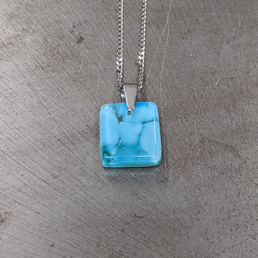 Lt Turquoise Dark Turquoise Pendant Necklace