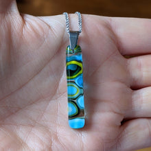 Load image into Gallery viewer, Turquoise Sea Blue Lemongrass Murrini Pendant Necklace