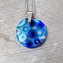 Load image into Gallery viewer, Cobalt Turquoise Murrini Glass Pendant Necklace