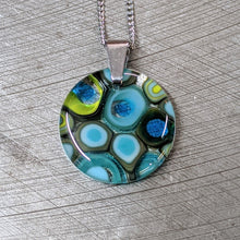 Load image into Gallery viewer, Sea Blue Lemongrass Turquoise Murrini Glass Pendant Necklace