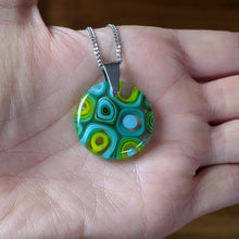 Load image into Gallery viewer, Lemongrass Turquoise Murrini Glass Pendant Necklace