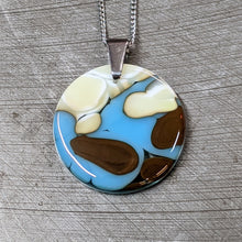 Load image into Gallery viewer, Vanilla Blue Chocolate Glass Pendant Necklace