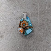 Load image into Gallery viewer, Lt Turquoise Dk Turquoise Orange Glass Pendant