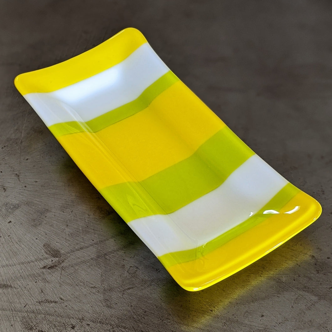 Yellow White Green Stripe Platter