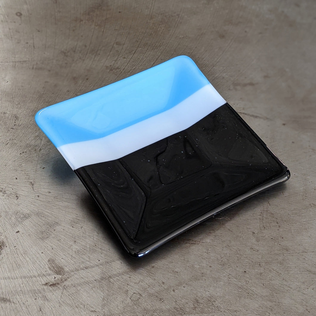 Cyan White Black Square Platter
