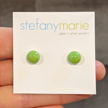 Load image into Gallery viewer, Light Green Glass Stud Earrings