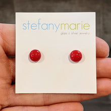 Load image into Gallery viewer, Red Glass Stud Earrings