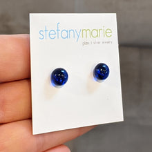 Load image into Gallery viewer, Cobalt Glass Stud Earrings