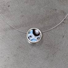 Load image into Gallery viewer, Black White Aqua Silver Pendant Necklace