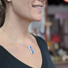 Load image into Gallery viewer, Ice Blue Aqua Silver Pendant Necklace