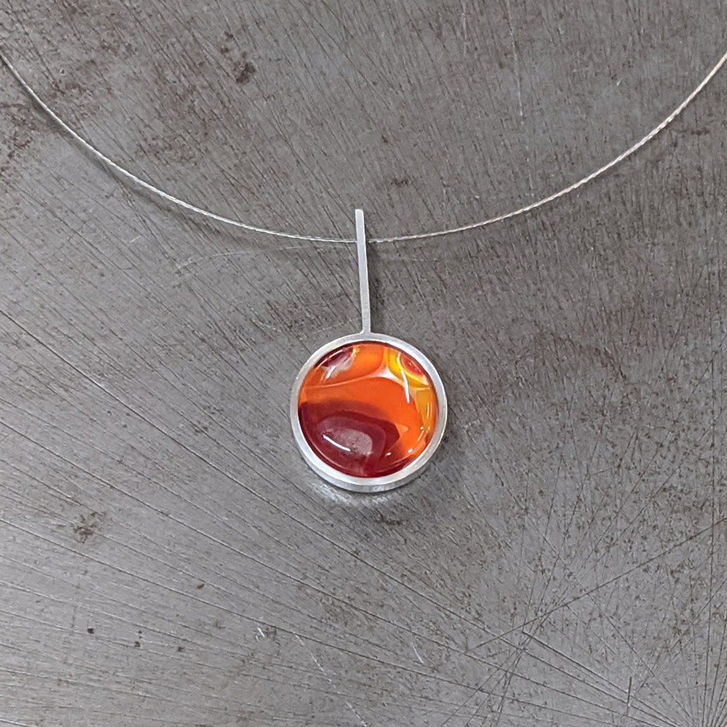 Red Orange Silver Pendant