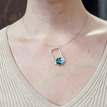 Load image into Gallery viewer, Emerald Aqua Silver Pendant Necklace
