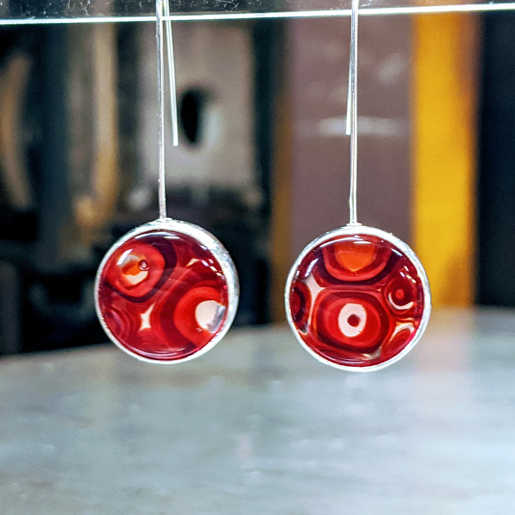Lipstick Red Deep Red Silver Earrings