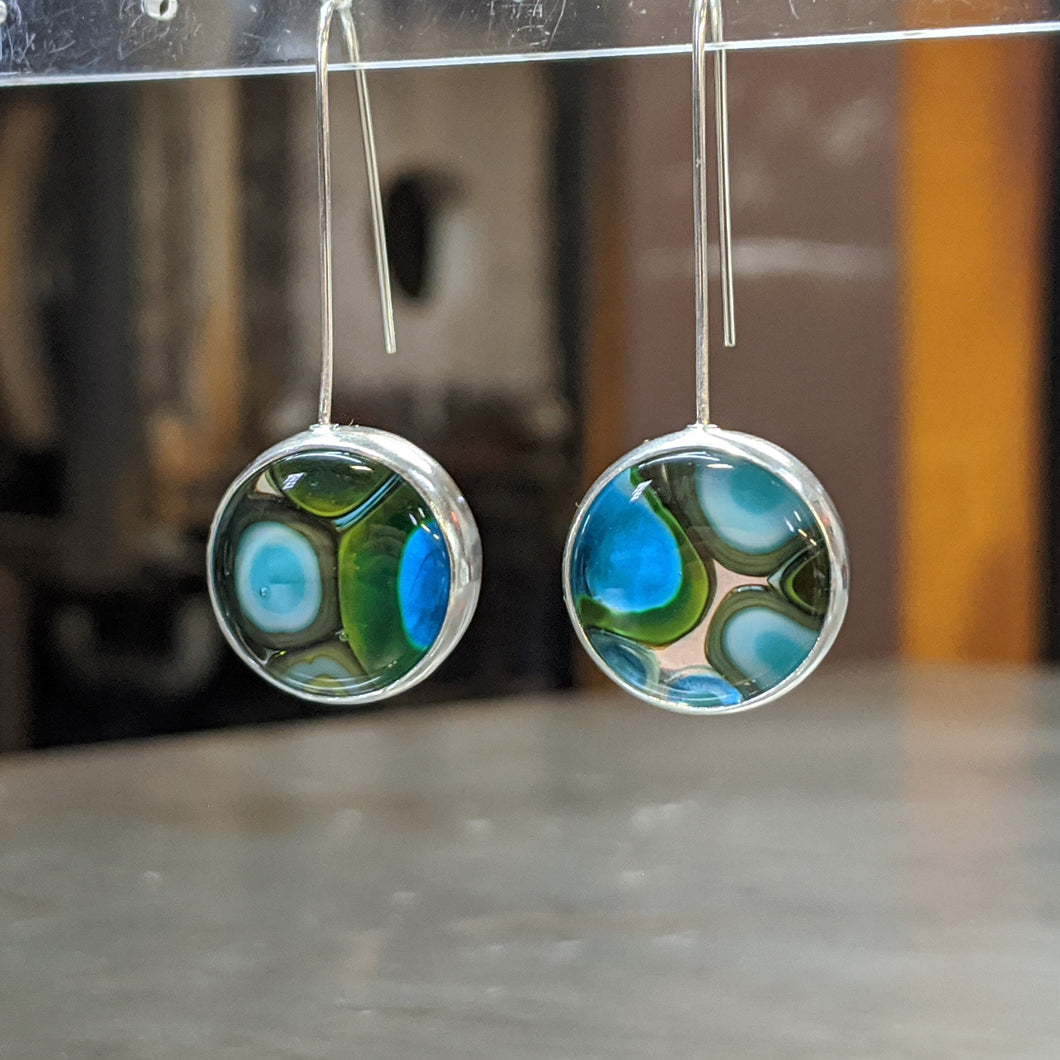Sea Blue Chocolate Turquoise Silver Earrings