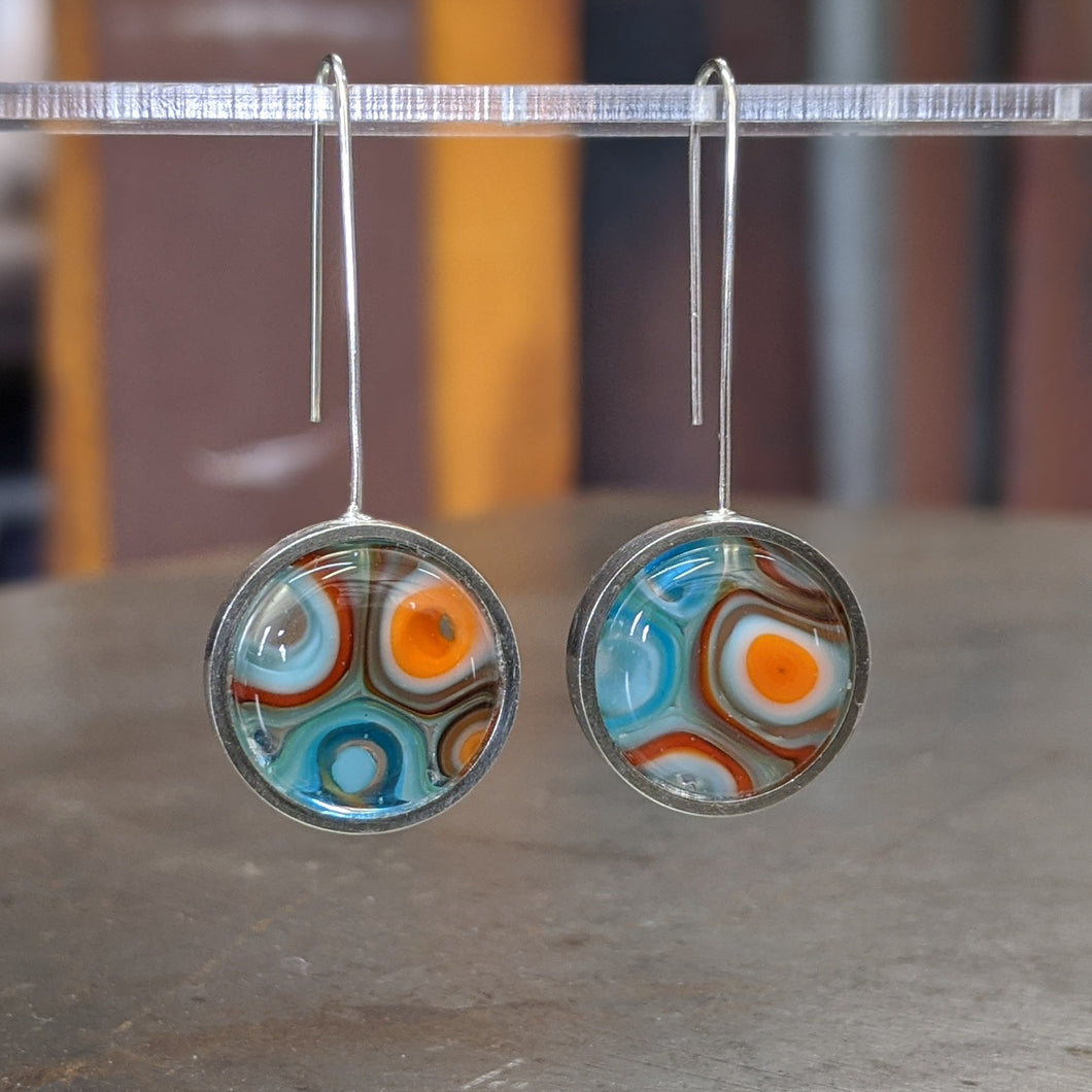 Turquoise Orange White Earrings