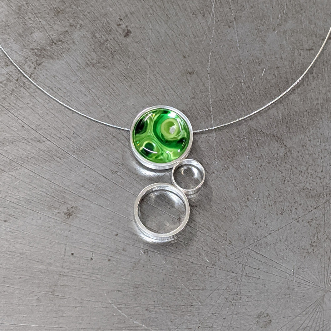 Green on Green Triple Circle Necklac