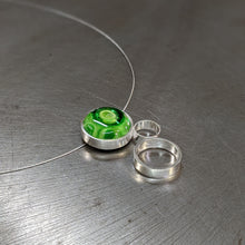 Load image into Gallery viewer, Green on Green Triple Circle Necklac