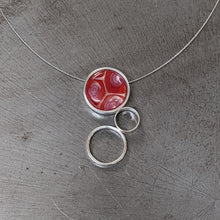 Load image into Gallery viewer, Red Pink Triple Circle Necklace