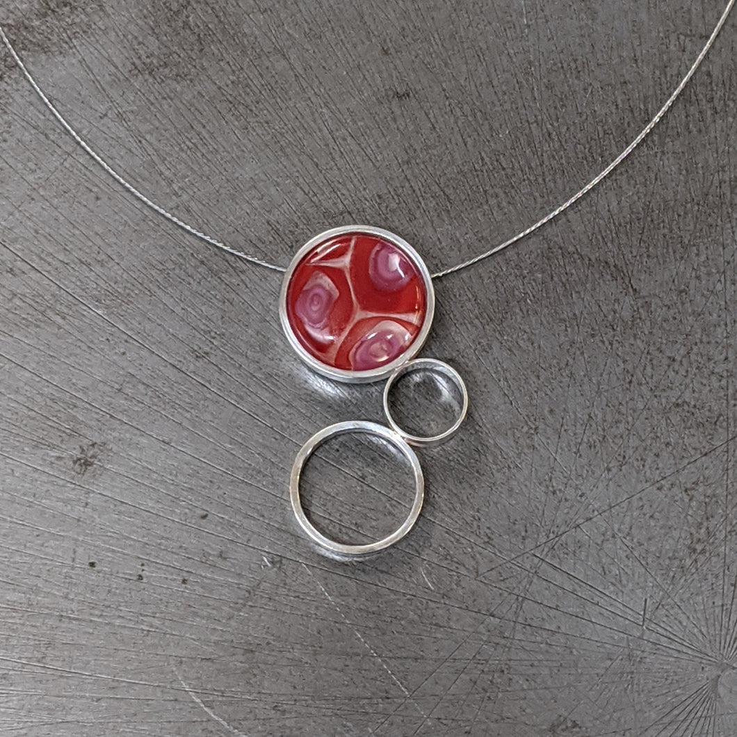 Red Pink Triple Circle Necklace