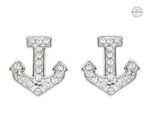 White Anchor Stud Earrings