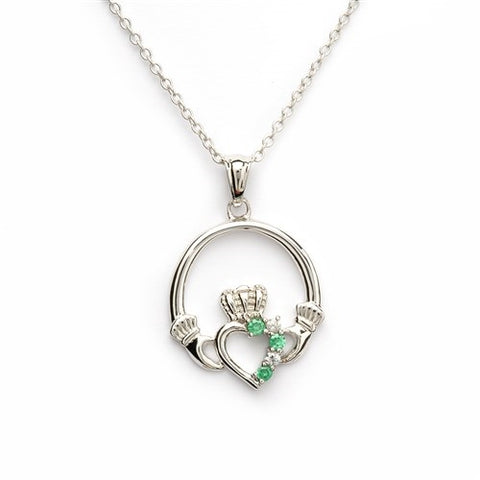 Claddagh Necklace with Green Crystals