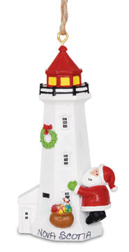 Small Santa and Lighthouse Ornament