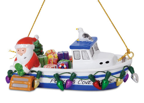 Santa and Boat Ornament