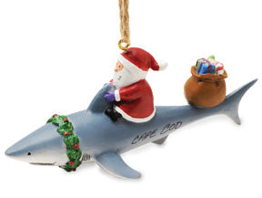 Santa and the Shark Ornament